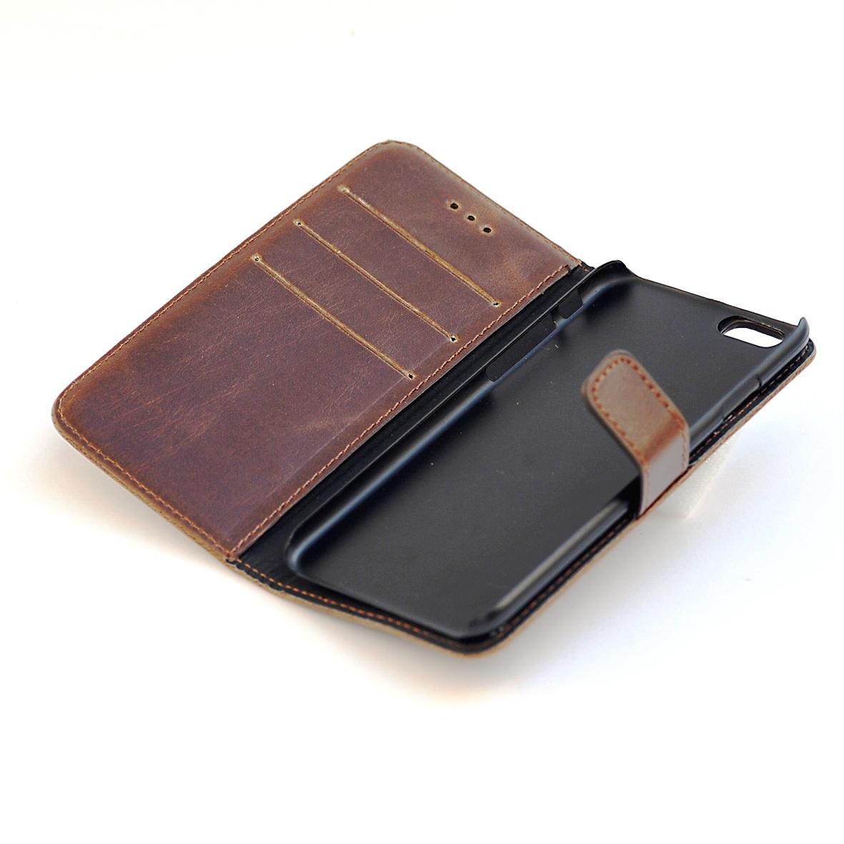 iPhone 7-8 PLUS kortholder læderpung brun 1
