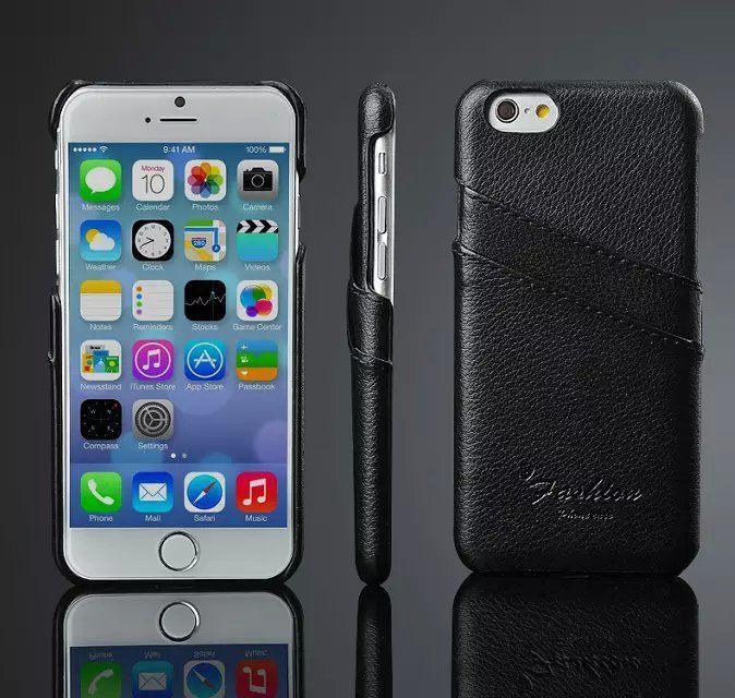 iPhone 6 handmade kreditkortholder af sort læder 2