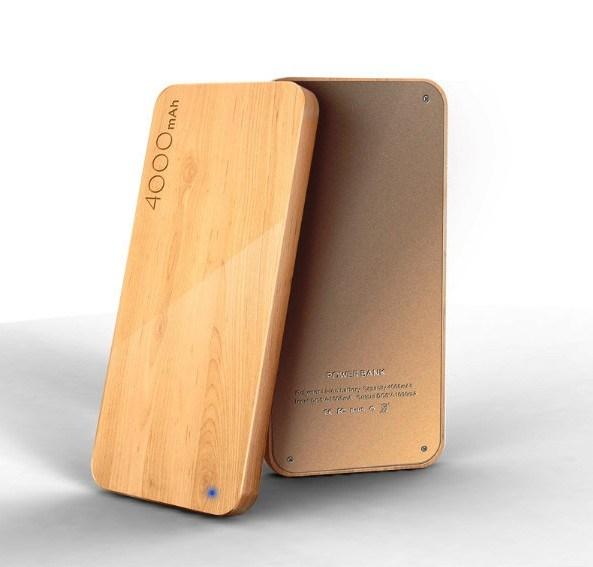 Wooden Powerbank oplader 4000mAh Ahorn 2