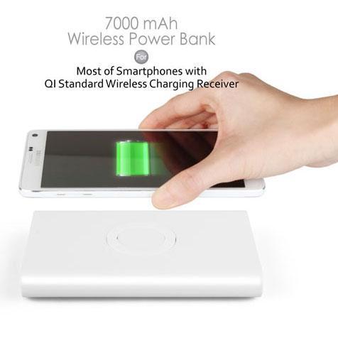 Qi Power Bank 7000mAh med trådløs opladning 8