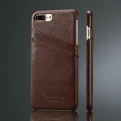 iPhone 7-8 PLUS handmade kreditkortholder af brun læder