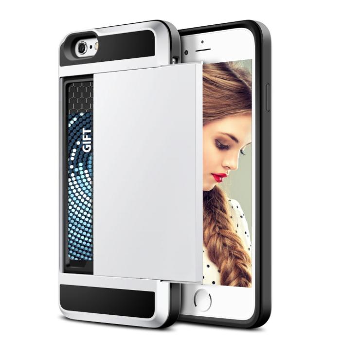 iPhone 7 PLUS cover med kortholder i sølv 3