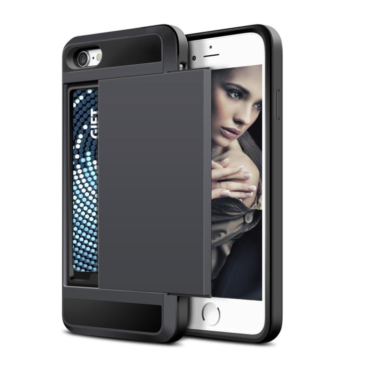 iPhone 7 PLUS cover med kortholder i sort 3