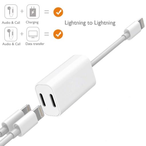 Dobbelt lightning jack til iPhone 7-8 1