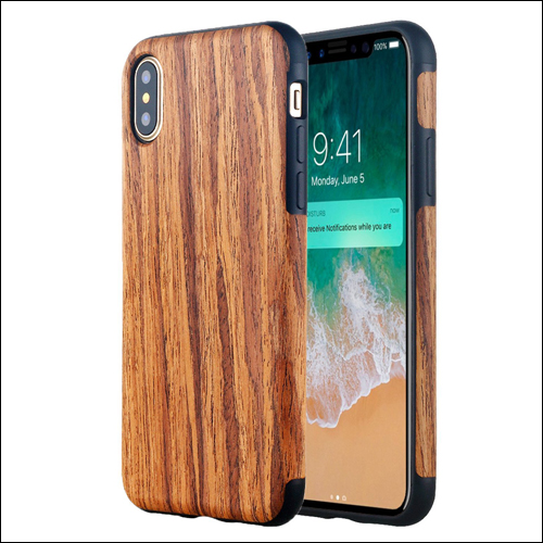 iPhone X soft slim wooden cover rosewood 3