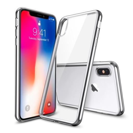 iPhone X transparent soft cover med sølv kant 1