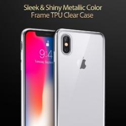 iPhone X transparent soft cover med sølv kant 7