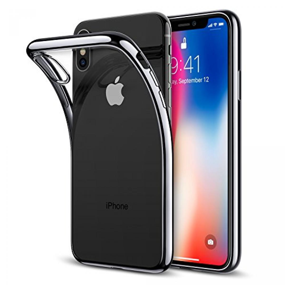 iPhone X transparent soft cover med sort kant