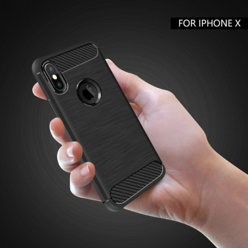 Carbon soft slim TPU silikone cover iPhone X 4