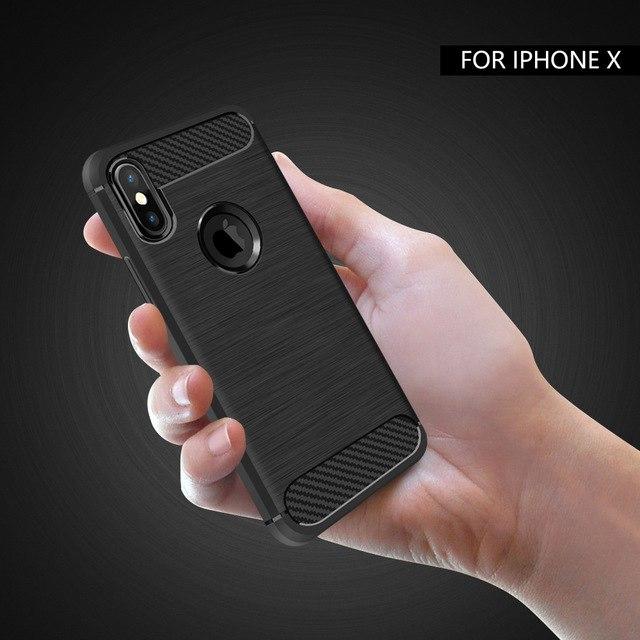 Carbon soft slim TPU silikone cover iPhone X 4